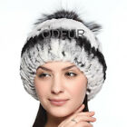 2014 New Womens Beanies Rex Rabbit Fur Hat Silver Fox Fur Winter Cap Knit Beanie