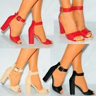 WOMENS ANKLE STRAP CUFF GOLD BUCKLE STRAPPY SANDALS HIGH HEELS PEEP TOES SHOES