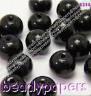 60 - 100 Smooth Round Glass Beads Deep Jet Black 8 mm Jewellery Making 6314