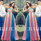 Rainbow Wedding Dresses Quinceanera Prom Party Evening Dress Cocktail Ball Gown