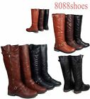 Women's Stylish Low Heel  Motocycle Riding Knee High Boot Shoes Size 5 -10 NEW