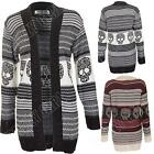 New Ladies Womens Knitted Striped Skull Pattern Open Cardigan Size 8 10 12 14