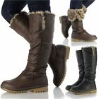 New Womens Ladies Knee High Leather Style Flat Low Heel Biker Riding Fur Boots