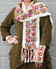 NIRVANNA DESIGNS SCARF  Floral Hand-Crocheted Wool  WHITE MULTI