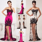 NEW High-Low Lace Applique Sexy Gown Homecoming Wedding Evening Prom Party Dress