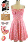 50s Style Lt. PINK with White POLKA DOTS ROUCHED Bust Bombshell PINUP Sun Dress