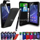 FLIP WALLET CASE POUCH PU LEATHER COVER FOR SONY XPERIA M2 D2303 D2306 +SG+PEN