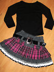 GIRLS BLACK TOP & GREY PINK BOW TARTAN WINTER WOOLLY PARTY SKIRT with BELT