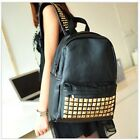 High Quality Retro Women Black PU Leather Rivet Backpack Bag A4 Free Ship