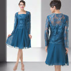 VINTAGE Short Lace Mother of the Bride Outfit Evening Party Wedding Coat + Dress