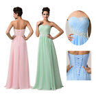 Long Chiffon Beaded Evening Formal Party Prom Bridesmaid Dresses STOCK SIZE 6-20