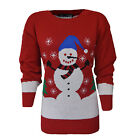 Ladies Snowman Print Christmas Xmas Jumper Sweater Womens Size 8-14