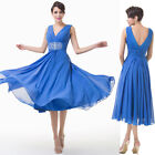 Mid-Calf Sexy V neck Prom Formal Party Cocktail Dresses Wedding Evening TEA Gown