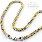6x6mm Mens Gold Silver Stainless Steel Franco Box Chain Necklace or Bracelet