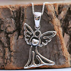 925 Sterling Silver Guardian Angel Embraces Heart Pendant Chain Necklace w Box