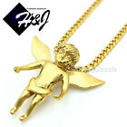 """18-32""""MEN Stainless Steel 3mm Gold Cuban Curb Chain Necklace ANGEL Pendant*GP48"""