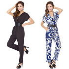 Womens 2 Colors Porcelain Jumpsuit Pants Romper Cross V-neck Short Sleeve +Belt
