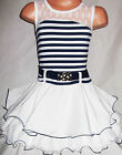 GIRLS NAVY BLUE & WHITE STRIPE LACE TRIM RUFFLE DANCE PARTY DRESS with BELT