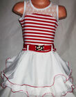 GIRLS RED & WHITE STRIPE LACE TRIM RUFFLE DANCE PARTY DRESS with BELT