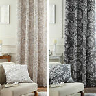 Catherine Lansfield Toile Damask Floral Lined 66 x 72 Ring Top Eyelet Curtains