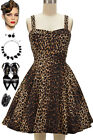 "50s Style LEOPARD PRINT Bombshell PINUP Full Skirt ""PULL UP A CHERRY"" Sun Dress"