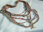 VINTAGE 7 STRAND GOLDTONE MULTI COLOR GLASS BEAD CHARM NECLACE
