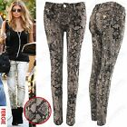 NEW WOMENS LADIES SNAKE PRINT JEANS SKINNY STRETCH SLIM FIT TROUSERS ANIMAL LOOK