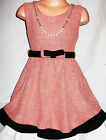 GIRLS PINK CORAL BLACK RUFFLE TRIM BELTED WINTER KNIT PARTY DRESS with NECKLACE