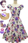 50s Style PURPLE & PINK ROSE FLORAL PINUP Peasant Top On/Off t/Shoulder Dress