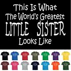 Worlds Greatest LITTLE SISTER Birthday Christmas Gift Funny T Shirt Youth