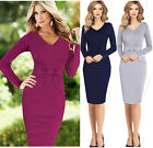 VINTAGE Women Long Sleeve SEXY V-Neck Tunic Pencil Evening Prom Formal Dress NZT
