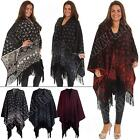 Womens Shawl Knitted Fair Isle Patterned Ladies Wrap with Tassel - One Size
