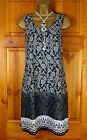 NEW WHITE STUFF NAVY BLUE GREY DIP DYE FLORAL COTTON SUMMER TUNIC DRESS UK 8