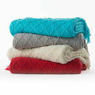 Artesia Diamond Knit Fringed Throw by In 2 Linen