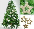 Pack of 3 Gold Golden Weave Hanging Stars Wedding Christmas Xmas Tree Decoration