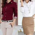 Women Long Sleeve T-Shirt Turn-down Collar Blouse Tops White Classical Rivet