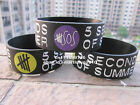 "5 SECONDS OF SUMMER 5 SOS 1"" Wide Silicone Printed Logo Wristband Bracelet"