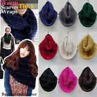 Women's Solid Color Winter Warm Infinity 2 Circle Knit Cowl Neck Scarf Shawl Hot