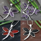 1x Dragonfly Amethyst Agate Gemstone Stone Reiki Healing Pendant For Necklace