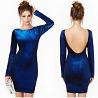 Fashion Women Long Sleeve Velvet Backless Clubwear Party Bodycon Slim Mini Dress