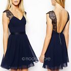 Sexy Women Summer Backless Lace Chiffon Slim Evening Party Cocktail Mini Dress