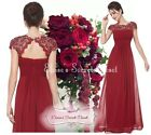 KATIE Cranberry Red Lace Maxi Prom Evening Bridesmaid Ballgown Dress UK 8 - 22