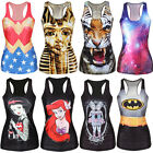 Women's Chic-Look Print Tank Top Vest Blouse Gothic Punk Clubwear T-Shirt Cami
