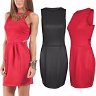 NEW WOMENS LADIES CUT OUT SIDE BODYCON DRESS SHIFT SLEEVELESS TULIP LOOK SKIRT