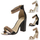 WOMENS CHAIN ANKLE STRAP LADIES ZIP UP GOLD TOE CAP CHUNKY HEEL SHOES SIZE 3-8