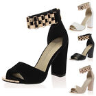 WOMENS GOLD TOE CAP LADIES ANKLE CHAIN STRAPS HIGH CHUNKY HEEL SHOES SIZE 3-8