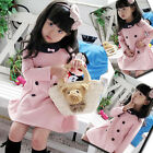 Hot Sale Winter Formal Baby Kids Girls Double Breasted Long Sleeves Cotton Dress