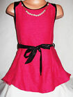 GIRLS CERISE PINK BLACK LEATHERETTE TRIM KNIT TUNIC DRESS TOP with NECKLACE