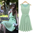 Womens Elegant Casual Pleated Chiffon Bow Belt Sleeveless Cocktail Party Dress