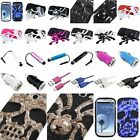 For Samsung Galaxy S III S3 Skull Hybrid Case Hard Silicone Spider Cover